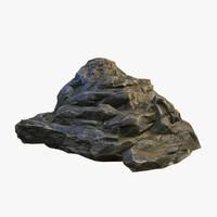 mossy boulder 3d obj