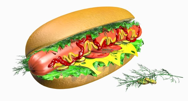 3d hot dog cabbage dill