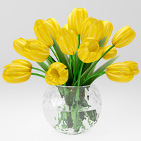 3d model of realistic yellow tulips