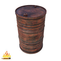 barrel metal old 3d model