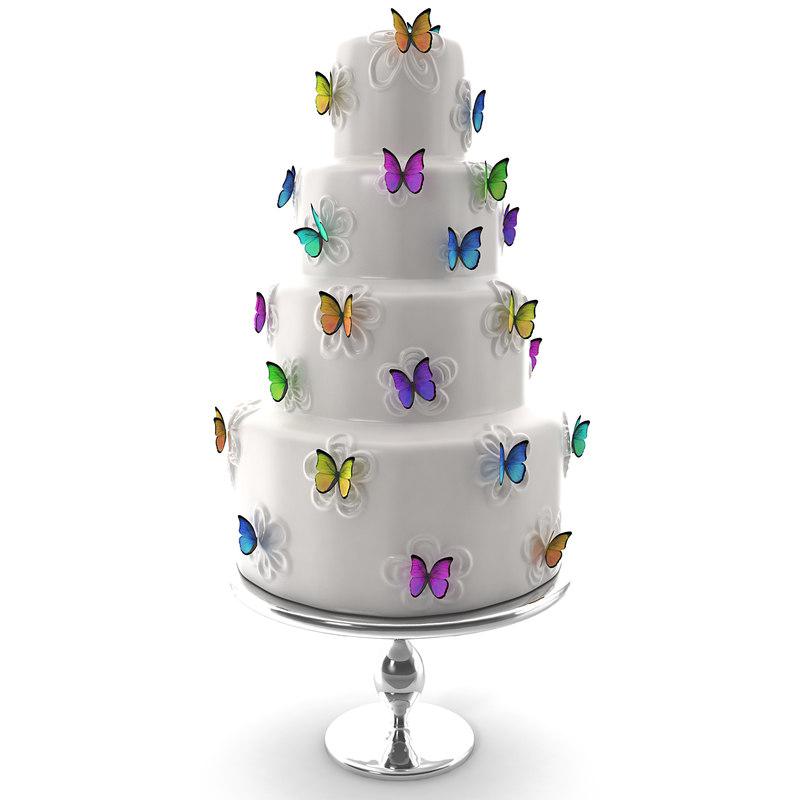 cake butterflys 3d obj