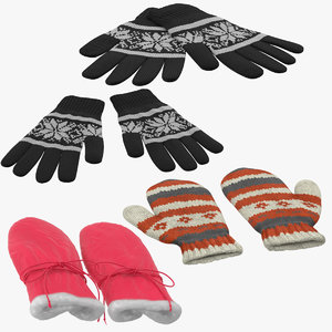 3d winter gloves model