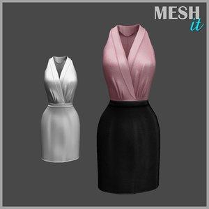 dress pink black 3d 3ds