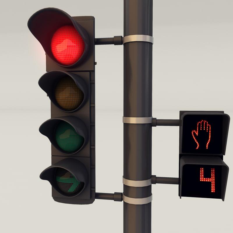 3d traffic street lights
