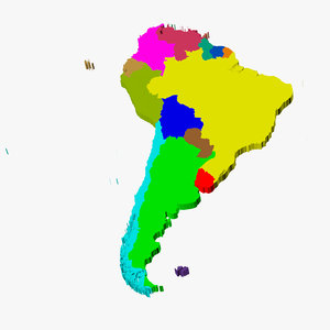 3d model countries territories south america