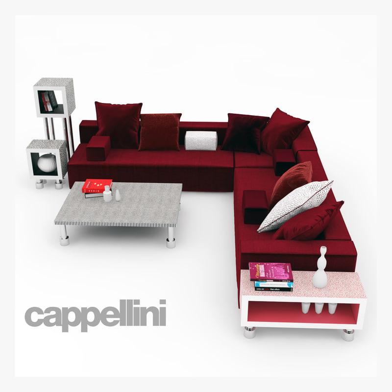 3d model panda cappellini sofa cabinet