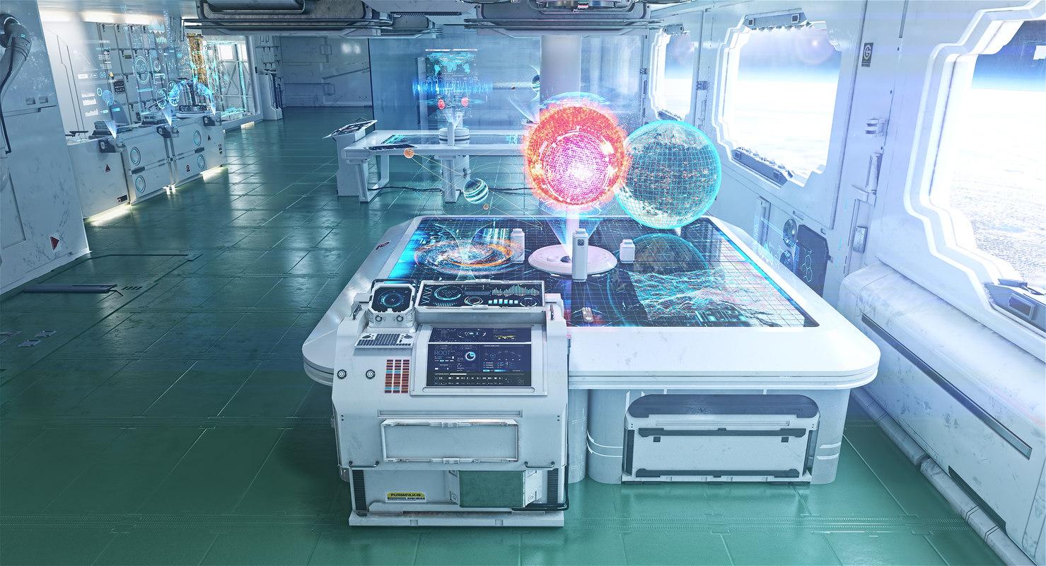 max futuristic interior space station