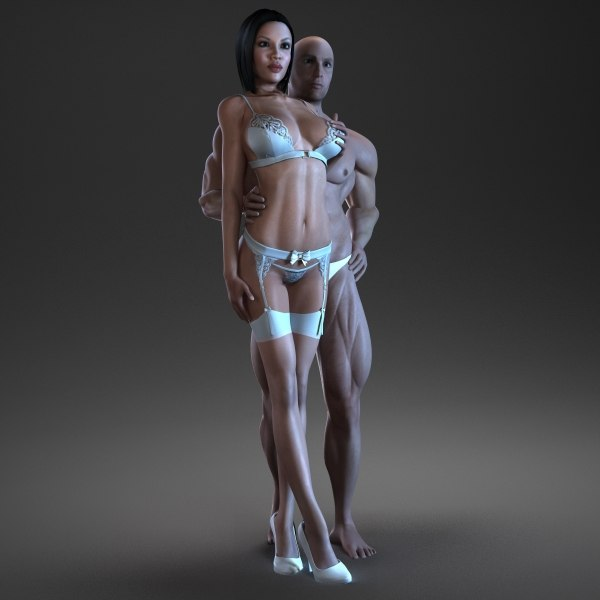 rigged male female characters 3d max