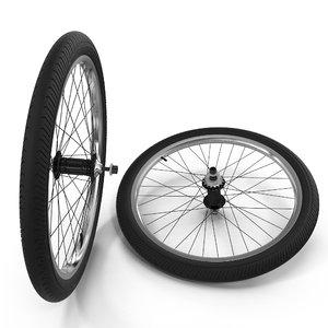 bmx wheels 3d obj