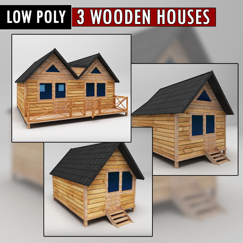 3d model pack wooden houses
