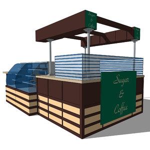 coffee kiosk 3d 3ds