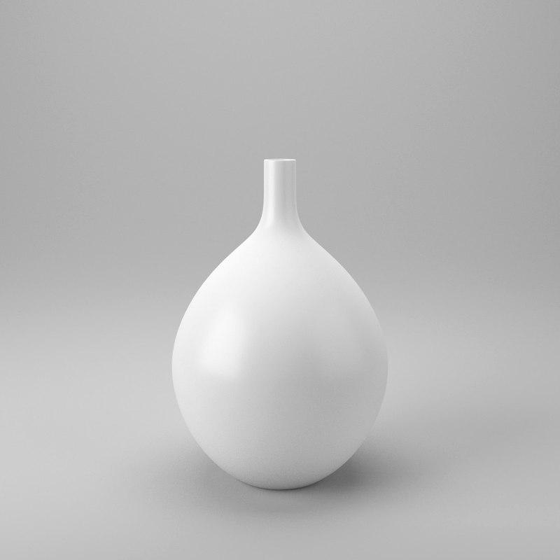 decor vase white 3d obj