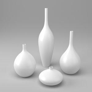 3d decor vase white
