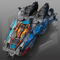x5 scifi spaceship 3d max