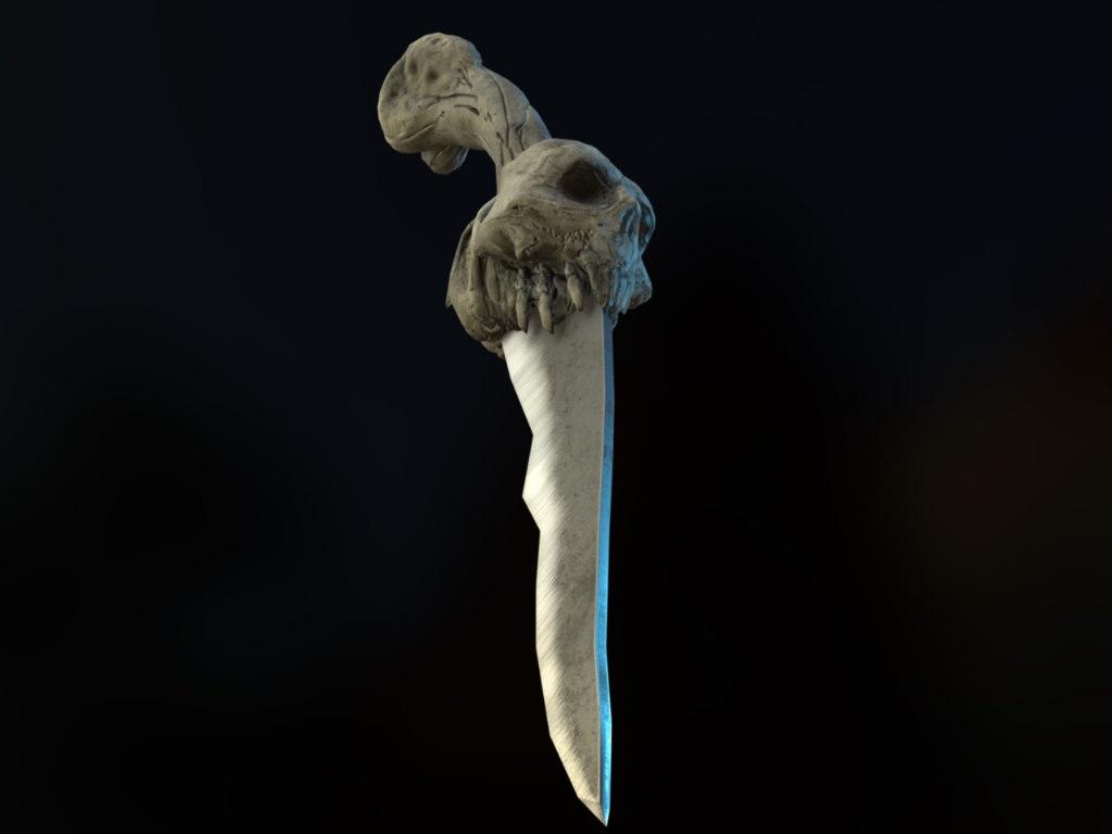 dagger skull 3d obj