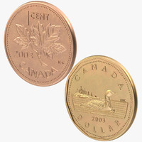 1 Cent and 1 Dollar Canada Coins
