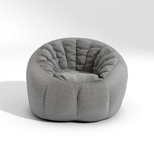 pouf seat cushion 3d max