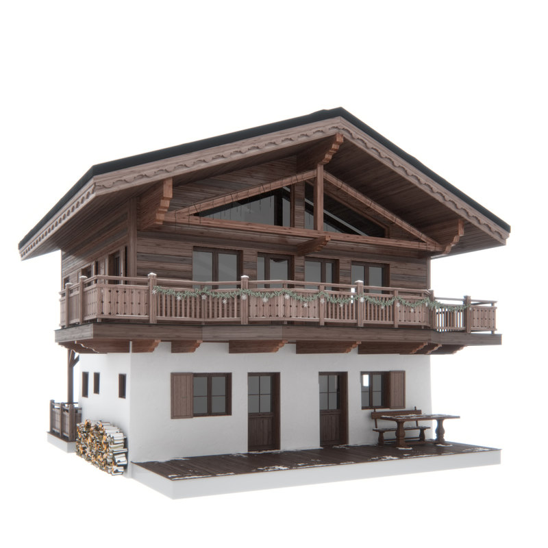 3d max chalet house