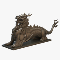 3d ancient dragon statue chinese