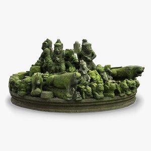 3d model bali old statue composition