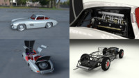 3d rigged mercedes 300sl gullwing