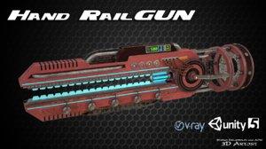 3d sci-fi hand railgun model