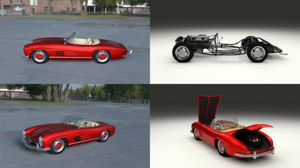 3d model mercedes 300sl roadster modeled