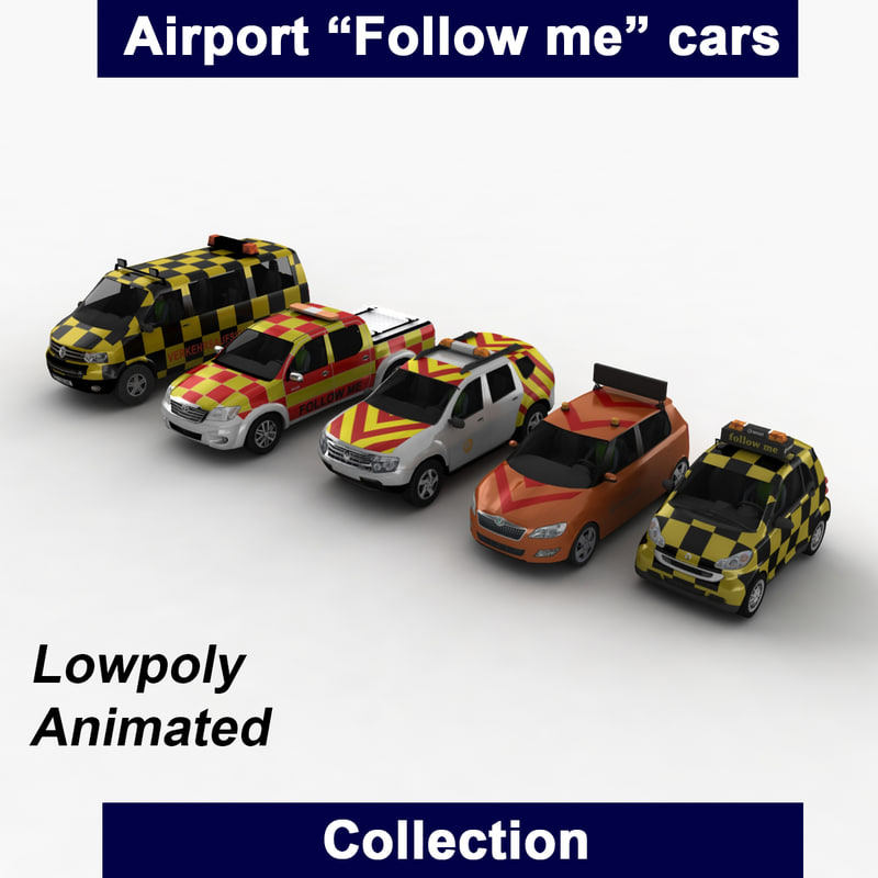 3d model airport follow cars