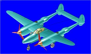 3d p-38 fighter aircraft solid model