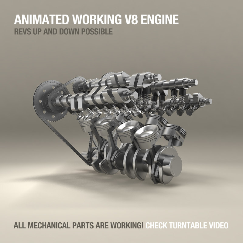 v8 engine work animation obj