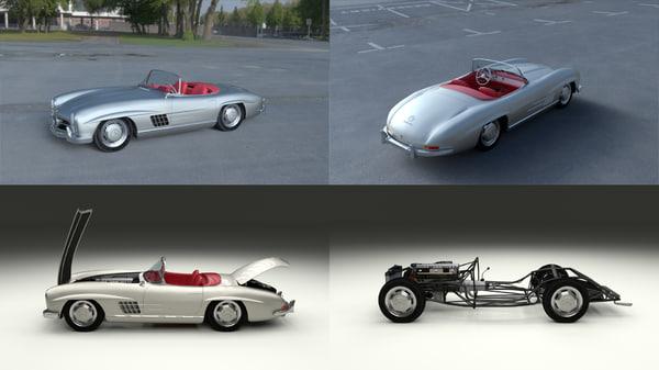 mercedes 300sl roadster modeled 3d model