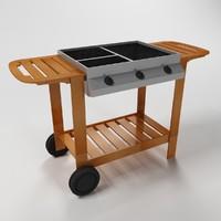 wooden bbq grill 3d model