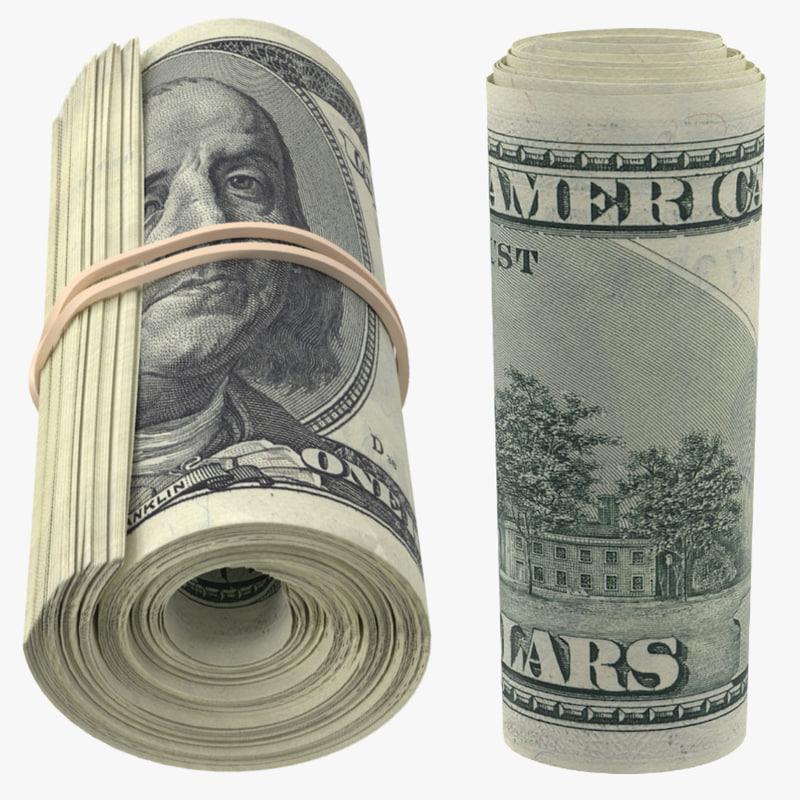 rolls 100 dollars bills 3d max