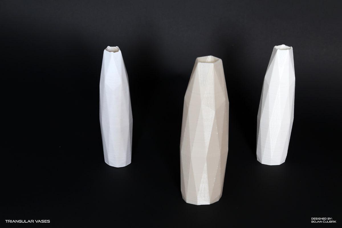 triangular vases set 2 3d obj