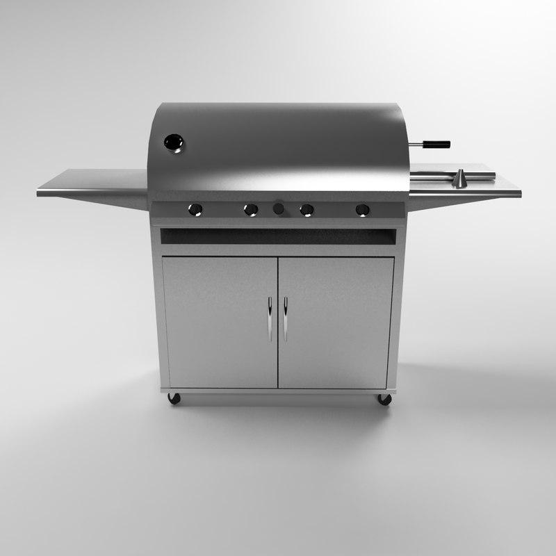 3d model professional bbq grill