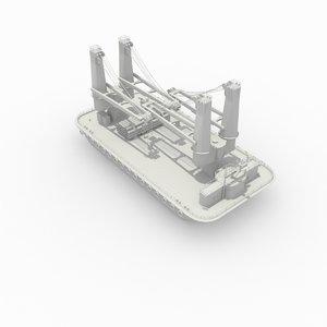 barge cranes 3d 3ds