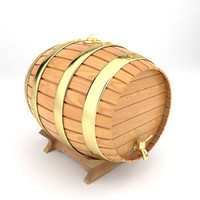 wood wine barrel 3d model