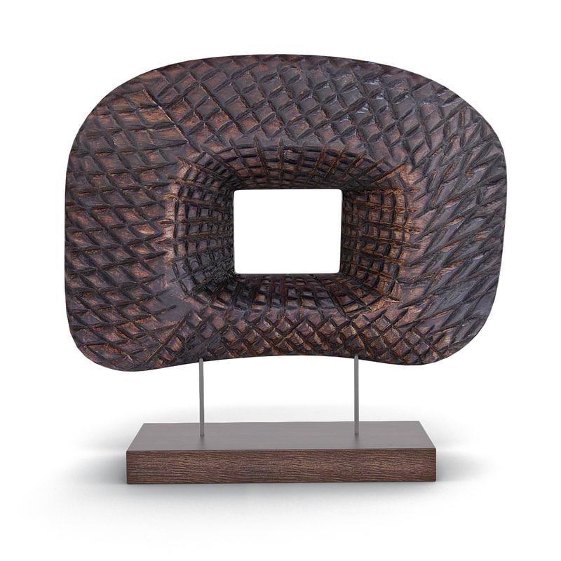 wood table decor 3d model
