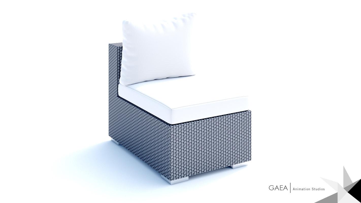 beliani wicker lounge set 3d max
