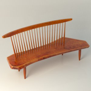 nakashima bench chair 3d model