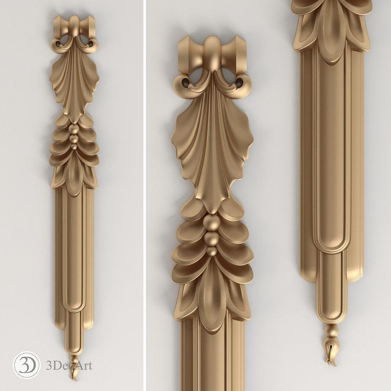 3d model vertical style art deco