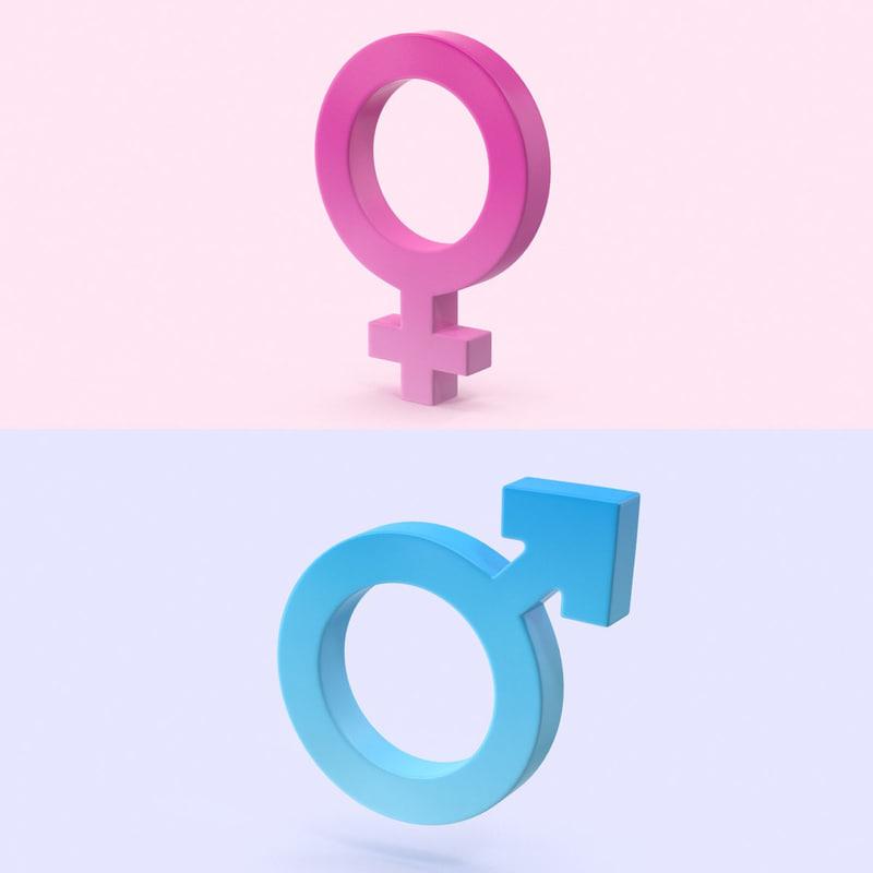 3d model of gender symbols set