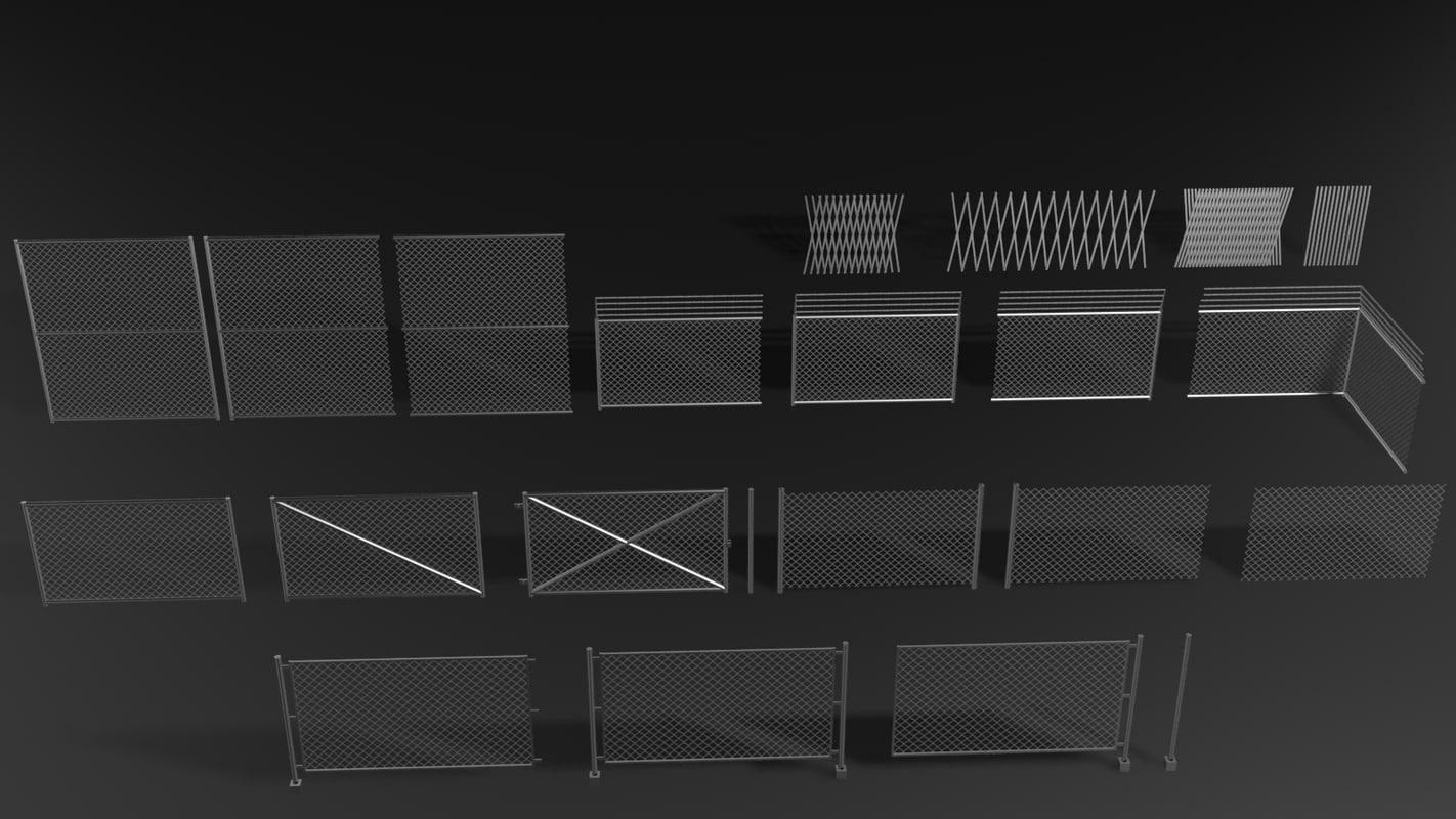 metal fences enclosure games 3d fbx