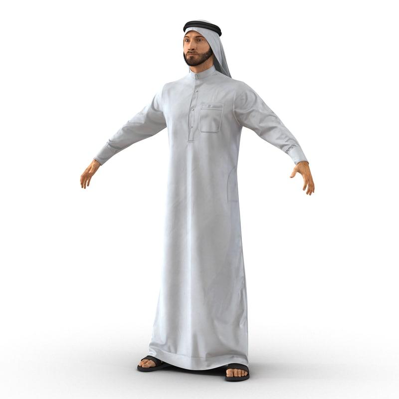 3d model arab man fur