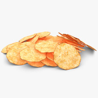 3d realistic potato chip 3 model