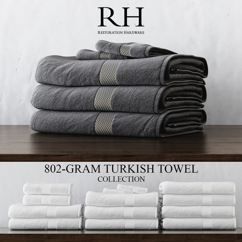3d 802-gram turkish towel collections model