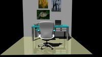 3d office chair desk model