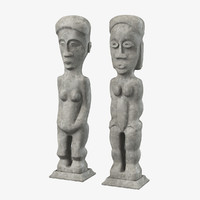 Pair of Tall Carved Wood Oceanic Primitive Figures