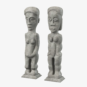 pair tall carved 3d model