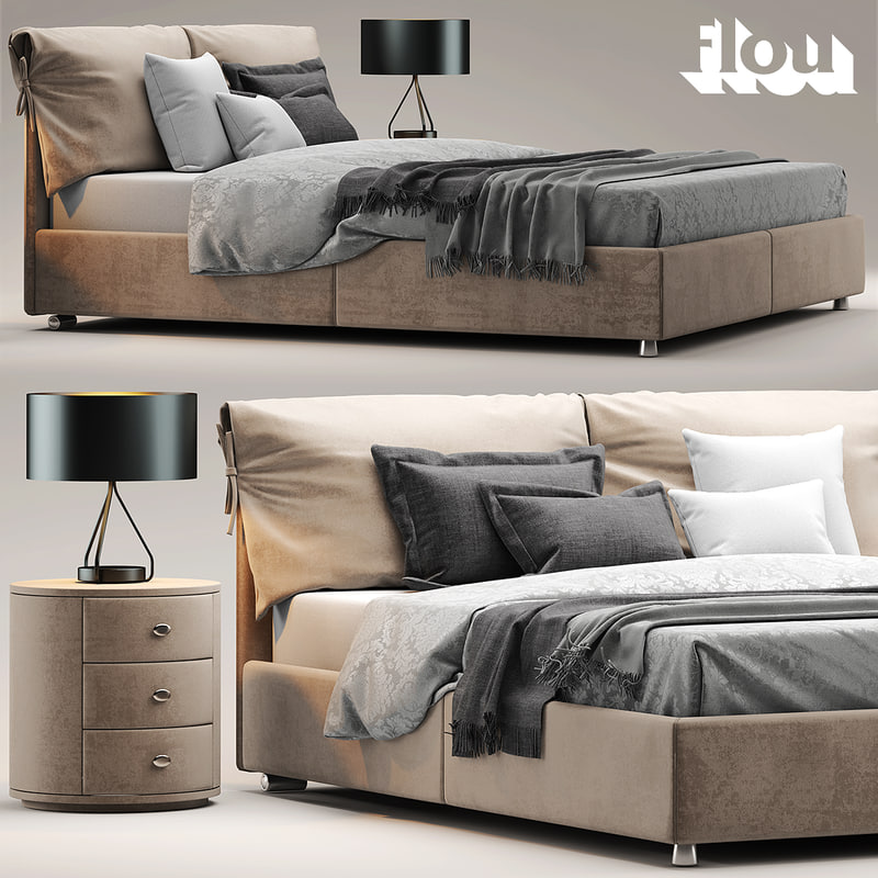 3d model bed flou letto for Letto imbottito flou